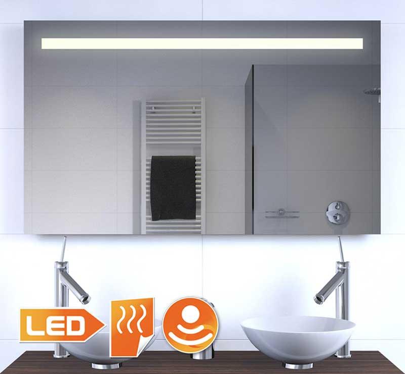 Badeværelse spejl med belysning, spejl opvarmning og sensor med dimming funktion
