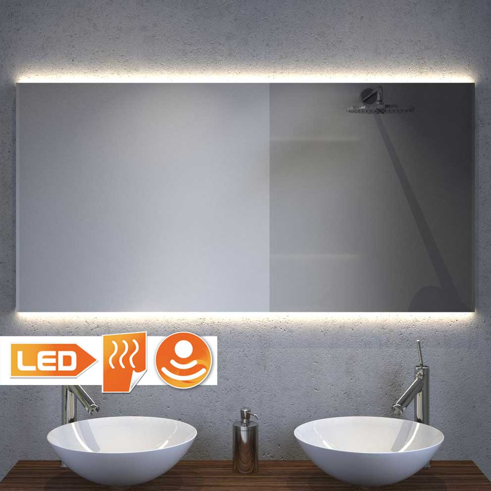 Design badeværelse spejl med projektør og spejl opvarmning 120x60 cm