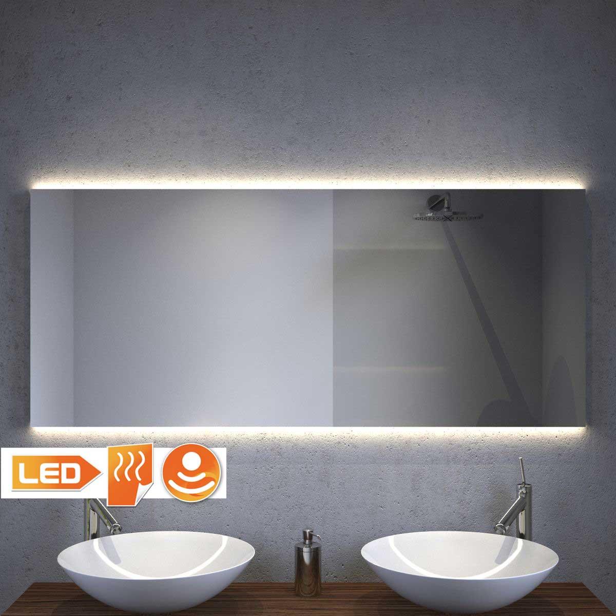 Design badeværelse spejl med indirekte projektør og opvarmning 140x60 cm