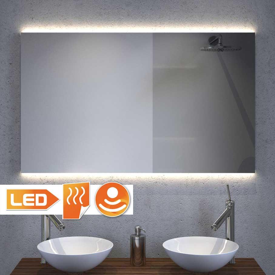 Design spejl med indirekte projektør og spejlvarme 100x60 cm