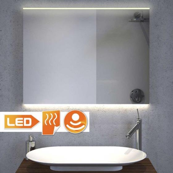 Badeværelse spejl med stilfuld LED belysning øverst og projektør i bunden - 80 cm bred