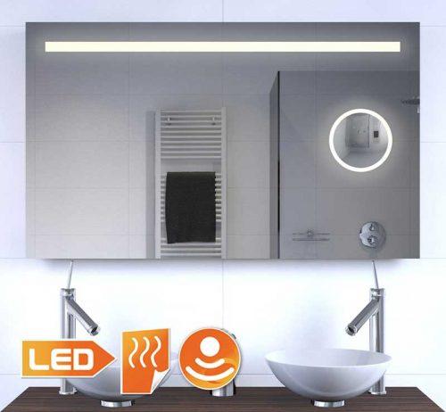 100 cm bred LED spejl med indbygget make-up spejl og opvarmning