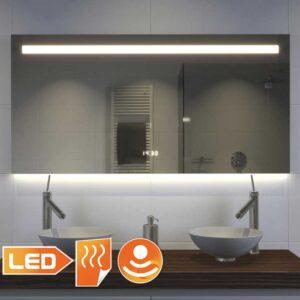 Smukt designer badeværelse spejl med mange muligheder, såsom belysning, opvarmning, digital ur og sensor med dimming funktion