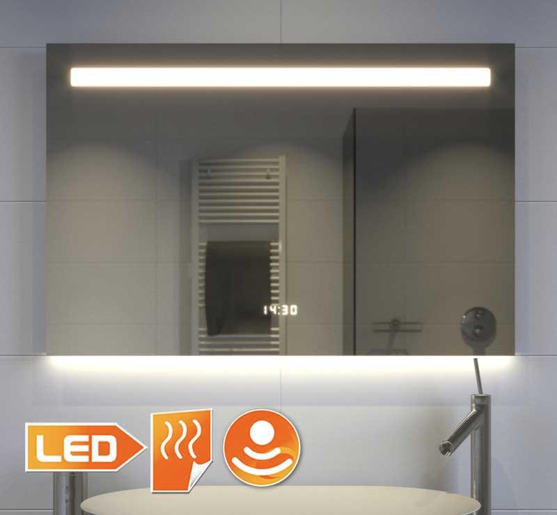 Komplet design spejl med ur belysning varme og en sensor kontakten med dæmpning funktion