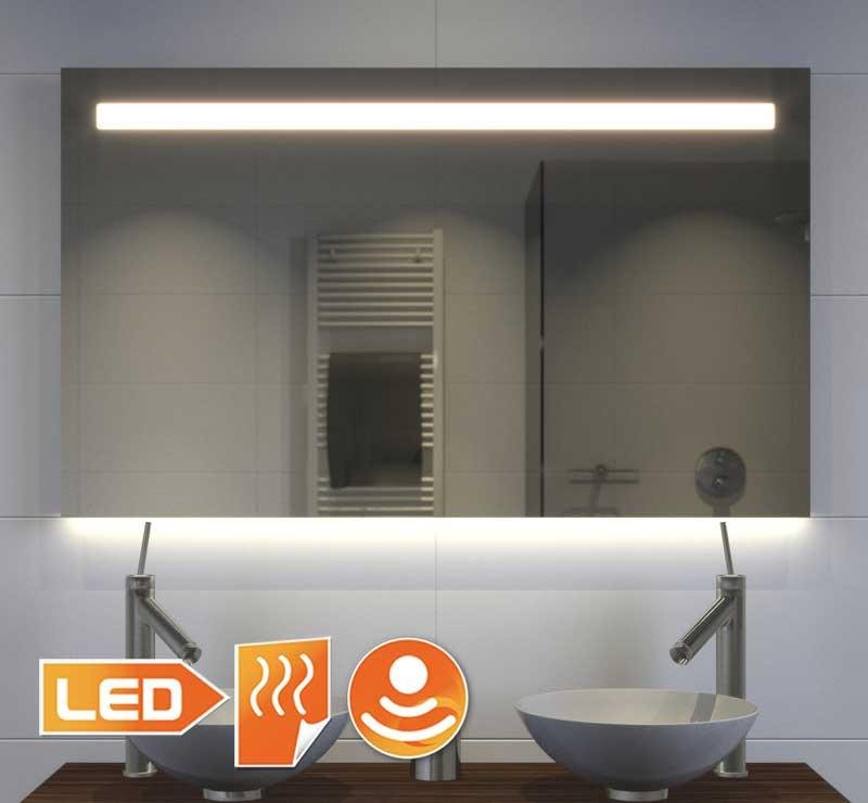 100 cm bredt spejl med praktisk direkte belysning øverst og atmosfærisk indirekte belysning nederst
