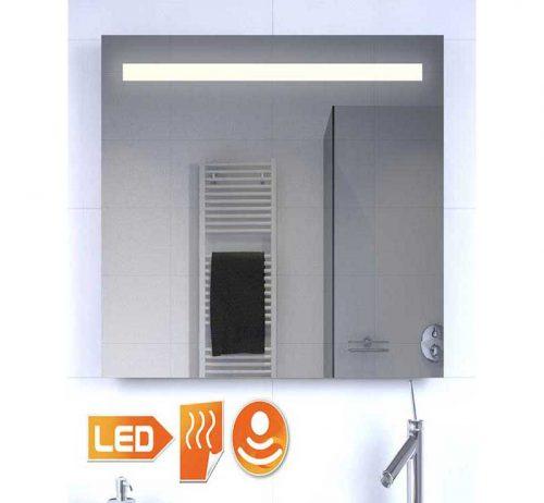 Smal badeværelse spejl med belysning, spejl opvarmning og sensor med dimming funktion