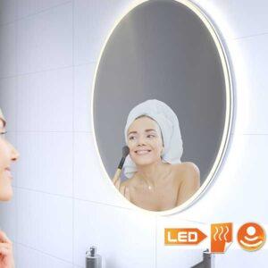 Rundt badeværelsesspejl med direkte og indirekte lys og varme 60 cm