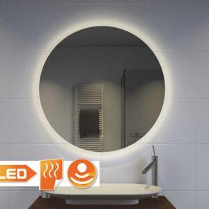 Rundt badeværelsesspejl med indirekte belysning, varme og dæmpningsfunktion 60 cm