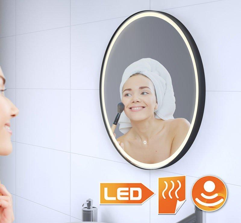 Rundt badeværelsesspejl med mat sort ramme, belysning og opvarmning 60 cm