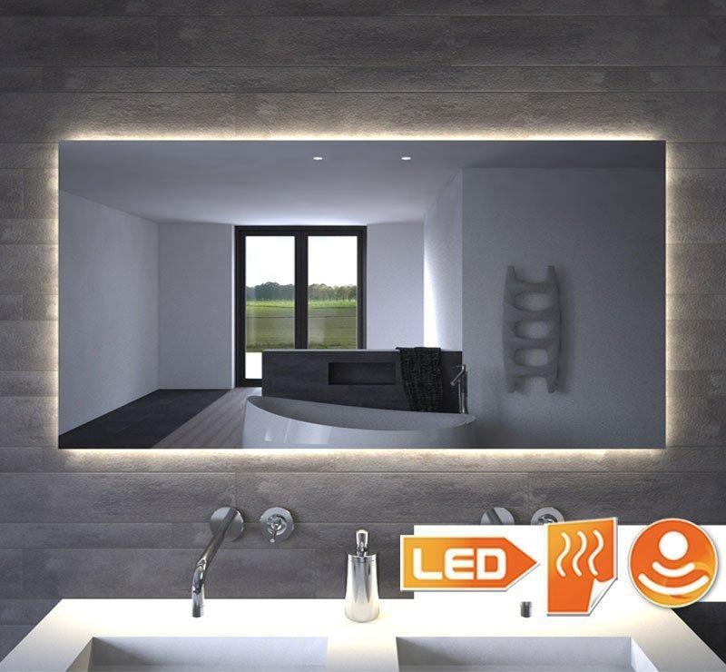 120 cm bredt badeværelsesspejl med indirekte belysning og spejl opvarmning