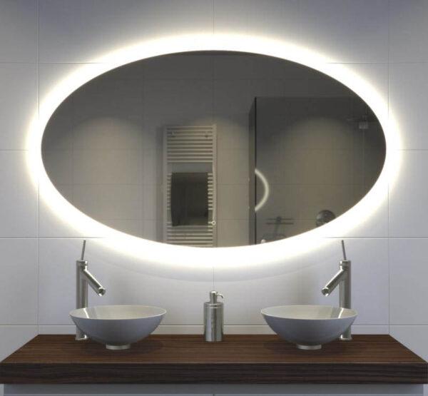 Ovalt spejl med led lys og sensor