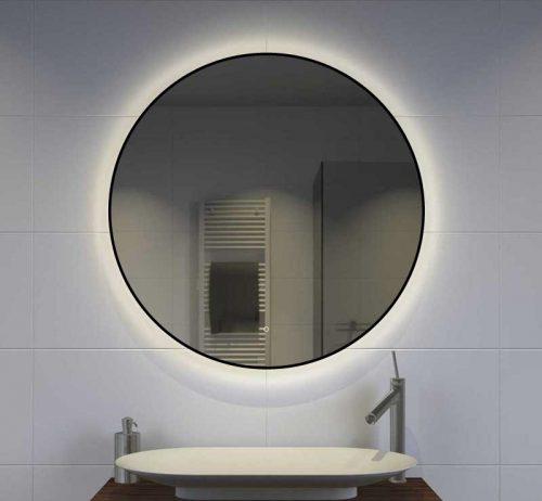 Rundt spejl med indirekte lys, sort ramme
