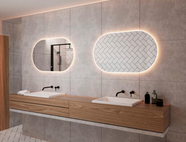 Flot spejl med lys, varme og dæmpningsfunktion