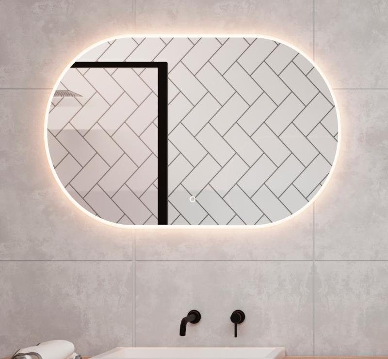 Ovalt spejl med direkte lys