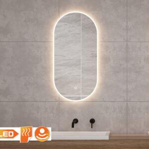 Ovalt spejl med lys, varme og dæmpningsfunktion.