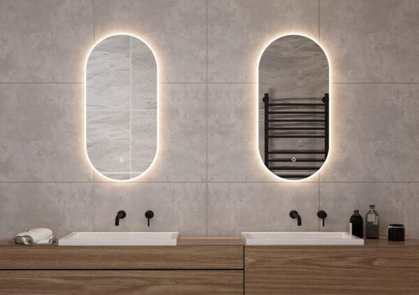 Ovale spejle med LED-lys